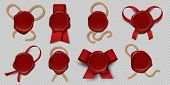 Wax Seal. Realistic Certificate Stamps With Ribbons And Ropes, 3d Medieval Royal Envelope Labels. Ve poster
