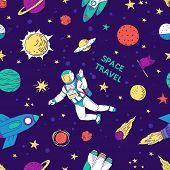 Seamless Doodle Space Pattern. Trendy Cute Kids Hand Drawn Graphic Astronomy Elements. Vector Rocket poster