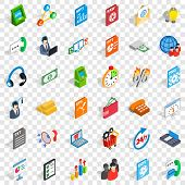 Globe Statistics Icons Set. Isometric Style Of 36 Globe Statistics Icons For Web For Any Design poster