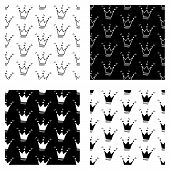 Cute Cartoon Crown Background Set With Hand Drawn Crowns. Sweet Vector Black And White Crown Backgro poster