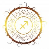Astrological Symbols In The Circle. Golden Metallic Gradient. Archer Sign poster