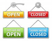 Glossy open and closed door signs board