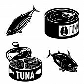 Tuna Fish Icons Set. Simple Set Of Tuna Fish Icons For Web Design On White Background poster