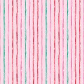 Vertical Seamless Grunge Brush Striped Pattern. Colorful Stripes On Pink Background. Seamless Patter poster