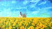 A Church In Sunflower Field, Illustration Of Sunflowers Farm In Summerday, Sunflowers Field Under Bl poster