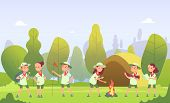 Scouts In Camping. Cartoon Kids At Campfire In Forest. Children Have Summer Outdoor Adventure. Vecto poster