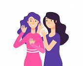 Secret. Female Speaking Rumor Gossip Whisper Woman Gossiping Surprised Lady Secret Whispering Vector poster