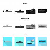 Vector Illustration Of War  And Ship Symbol. Set Of War  And Fleet Vector Icon For Stock. poster