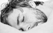 Healthy Sleep Habits. Man Unshaven Bearded Face Sleep Bed. Time For Nap. Sleep And Relax Concept. Ma poster