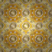 Seamless Pattern On Yellow And Beige Colors With Golden Elements. Classic Vintage Background. Seamle poster