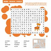 Crossword - Living Room Furniture - Learning English Words. Word Search Puzzle. Worksheet For Childr poster