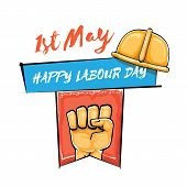 Happy Labour Day Vector Label With Strong Orange Fist Isolated On White Background. Vector Happy Lab poster