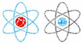 Atom Collage Icon Created For Bigdata And Computing Purposes. Vector Atom Mosaics Are Organized From poster