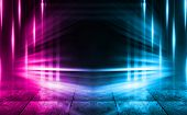 Empty Background Scene. Dark Street, A Reflection Of Blue And Pink Neon Light On Wet Pavement. Rays poster