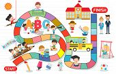 Board Game With Children Back To School, Illustration Of A Board Game With Education Background, Kid poster