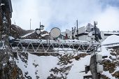 Meteorological Weather Station On The Zugspitze, The Highest Mountain Of Germany In The Bavarian Alp poster