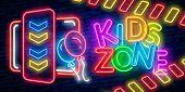 Kids Zone Neon Sign Vector. Kids Zone Design Template Neon Sign, Light Banner, Neon Signboard, Night poster