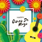 Happy Cinco De Mayo Greeting Card. Paper Fan, Cactus In Paper Cut Style. Mexico, Carnival. Square Fr poster