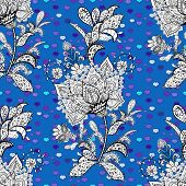 Amazing Collage Paradise Style For Floral Design. Bright Floral Collage Blossom Flowers Black, Blue  poster