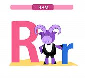 Letter R And Funny Cartoon Ram. Animals Alphabet A-z. Cute Zoo Alphabet In Vector For Kids Learning  poster