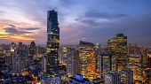 Bangkok City - Aerial View  Beautiful Sunset  Bangkok City Downtown Skyline Of Thailand , Cityscape  poster