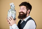Engaging In Investment Activity. Happy Businessman Making A Good Investment. Bearded Man Investor Sm poster