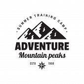 Adventure Mountain Peaks - Concept Logo Badge For T-shirt Clothing. Retro Vintage Style. Fashion Gra poster