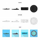 Vector Illustration Of War  And Ship Icon. Set Of War  And Fleet Stock Vector Illustration. poster