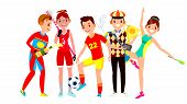 Athlete Set . Man, Woman. Lacrosse, Soccer, Golf, Gymnastics. Group Of Sports People In Uniform, App poster