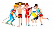 Athlete Set Vector. Man, Woman. Skiing, Boxing, Lacrosse, Table Tennis, Field Hockey. Group Of Sport poster