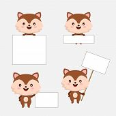 Cute Animal With Blanks For Text In Cartoon Style. Set Animal Cartoon Holding Blank Sign. Kids Conce poster