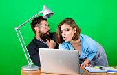 Love Affair At Work. Seduction. Business Couple At Computer. Businessman And Assistant Solve Problem poster