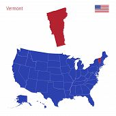 The State Of Vermont Is Highlighted In Red. Blue Vector Map Of The United States Divided Into Separa poster