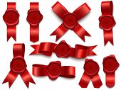 Wax Seal Ribbon. Wax Stamps On Ribbons, Royal Mail Letter Postal Stamp And Premium Wax Seals Isolate poster