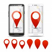 Gps Navigator Red Pointers, Vector Markers Set. City Map Pointer, Pinpoint On Smartphone Screen. Loc poster