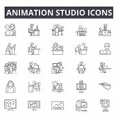 Animation Studio Line Icons, Signs Set, Vector. Animation Studio Outline Concept, Illustration: Anim poster