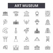 Art Museum Line Icons, Signs Set, Vector. Art Museum Outline Concept, Illustration: Museum, Art, Art poster