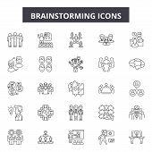 Brainstorming Line Icons, Signs Set, Vector. Brainstorming Outline Concept, Illustration: Idea, Brai poster