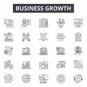 Business Growth Line Icons, Signs Set, Vector. Business Growth Outline Concept, Illustration: Growth poster