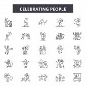 Celebrating People Line Icons, Signs Set, Vector. Celebrating People Outline Concept, Illustration:  poster