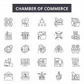 Chambers Of Commerce Line Icons, Signs Set, Vector. Chambers Of Commerce Outline Concept, Illustrati poster