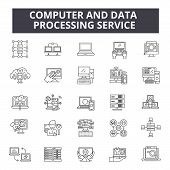 Computer And Data Processing Service Line Icons, Signs Set, Vector. Computer And Data Processing Ser poster