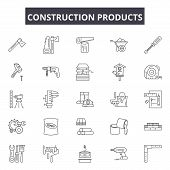 Construction Products Line Icons, Signs Set, Vector. Construction Products Outline Concept, Illustra poster