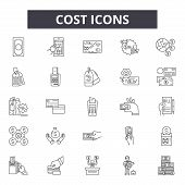 Cost Line Icons, Signs Set, Vector. Cost Outline Concept, Illustration: Money, Cost, Finance, Busine poster