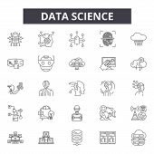 Data Science Line Icons, Signs Set, Vector. Data Science Outline Concept, Illustration: Science, Tec poster