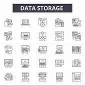 Data Storage Line Icons, Signs Set, Vector. Data Storage Outline Concept, Illustration: Data, Storag poster