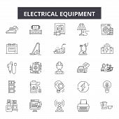 Electrical Equipment Line Icons, Signs Set, Vector. Electrical Equipment Outline Concept, Illustrati poster