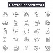 Electronic Connectors Line Icons, Signs Set, Vector. Electronic Connectors Outline Concept, Illustra poster