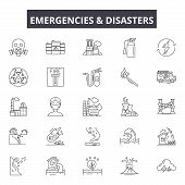 Emergincies And Disasters Line Icons, Signs Set, Vector. Emergincies And Disasters Outline Concept,  poster