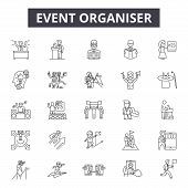 Event Organizer Line Icons, Signs Set, Vector. Event Organizer Outline Concept, Illustration: Event, poster